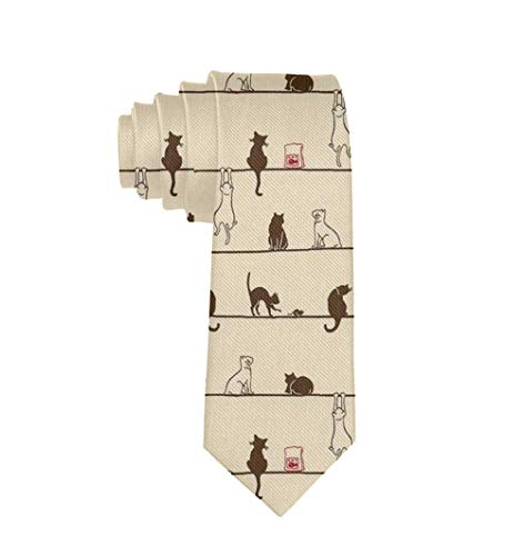 Mens Novelty Funny Polyester Textile Cute Cat Eat On The Line Tie Party Business Date Wedding Formal Casual Neck Ties