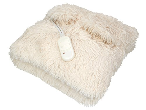 CLIFFORD JAMES Heated Cushion Super Soft Fleece Adjustable Temperature Control with Hand Pockets & Washable Cover (Cream)
