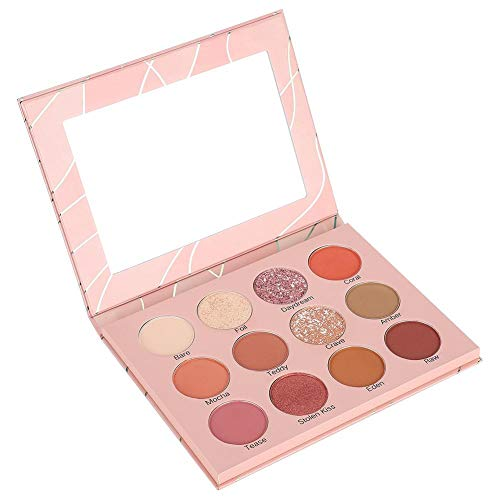 Ombre à paupières de 12 couleurs - ensemble de maquillage de fard à paupières combiné avec un kit de fard à paupières mat et nacré pour créer un maquillage des yeux charmant, imperméable et durable