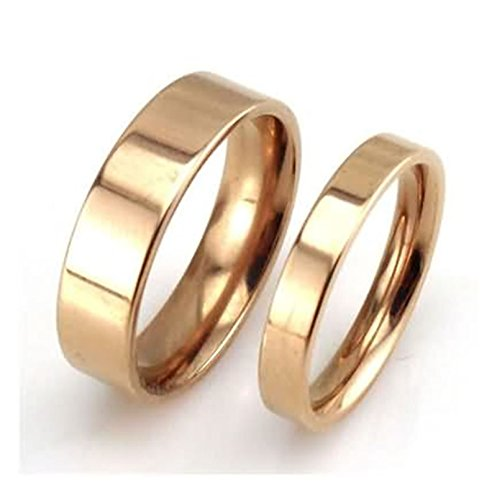 AYDOME 6mm/4mm Rings for Women Men, Signet Ring Gold Stainless Steel High Gloss Polished Valentine's Day Gift