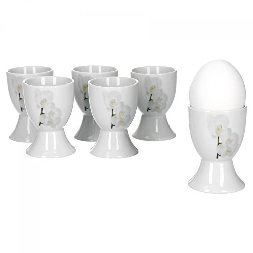 Van Well Vanda Lot de 6 coquetiers ronds Orchidée blanche, Ø 4,8 cm, hauteur 7 cm, décoration florale, porcelaine de marque élégante