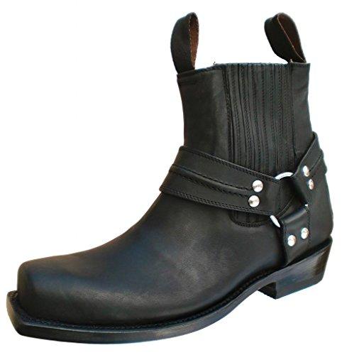 "Mezcalero ""Ensenada WX Black"" Bikerstiefelette, Harley Chopper Stiefel, Cowboyboots schwarz, Gr.: 42"