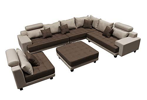 Stendmar 5pc Multifunction 2-Tone Linen Fabric Big Sectional Sofa S150RNE