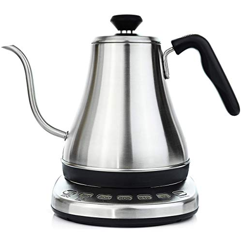 Gooseneck Electric Kettle with Temperature Control & Presets - 1L, Stainless Steel - Tea & Pour Over...