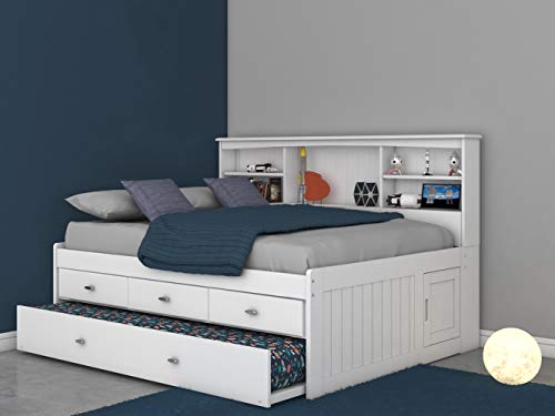 Full Bookcase Daybed with 3 Drawers & Trundle White