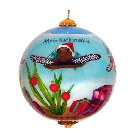Maui by Design Adorable Sea Turtles Celebrate Christmas Hand Painted Hawaiian Ornament