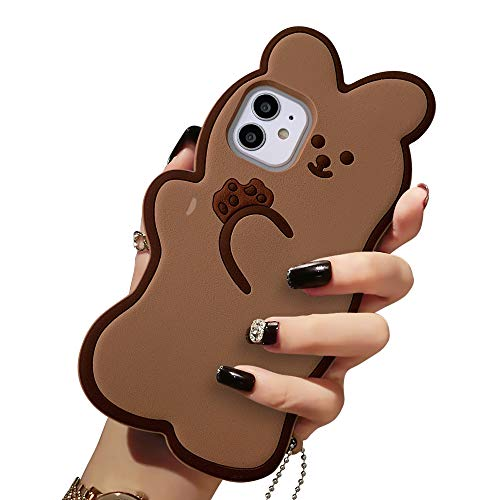 "USLOGAN Design 3D Cartoon Soft Silicone Kawaii Fashion Case for iPhone 12 Mini Shell Girls Women Teenager (2020, 5.4"") (Bear Cookie with Pendant)"