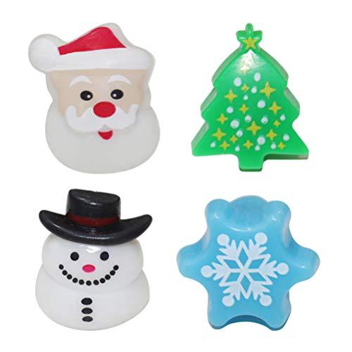 Amosfun 4 Piezas led Iluminado Anillos de Navidad Fiesta de Navidad favorece Regalos Joyas para niños (Mixto)