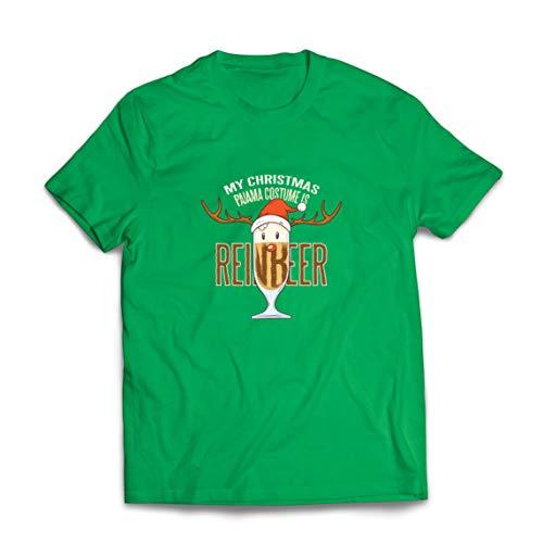 lepni.me Camisetas Hombre Reinbeer Disfraz de Pijama de Navidad, Regalos para Amantes de la Cerveza (X-Large Verde Multicolor)