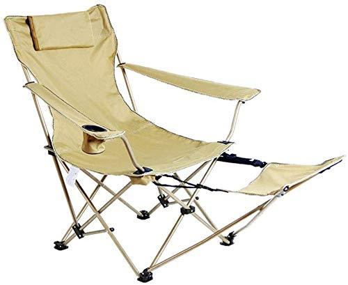 Garden Beach Lounger Outdoor-Camping-Klappstuhl for Angeln Wandern Picknick leicht und tragbar mit Aufbewahrungstasche (Color : Beige)