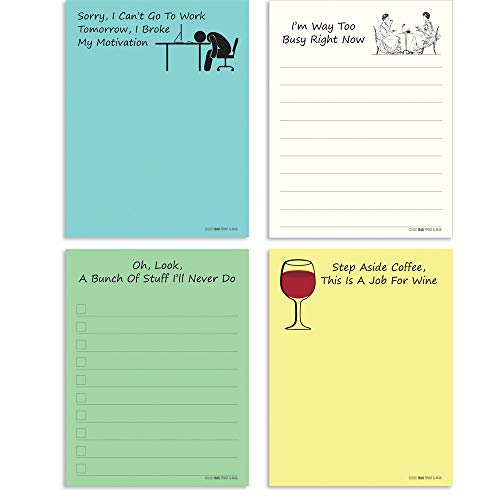 4 Pack, Creative Notepads, Funny Gifts, Novelty Memo Pads