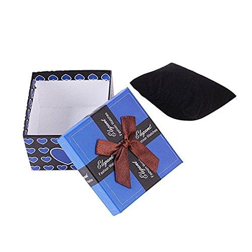 Schmuck-Aufbewahrungsbox mit Schleife, für Armschmuck oder Uhren, Geschenkkarton, Papier, dunkelblau, Einheitsgröße