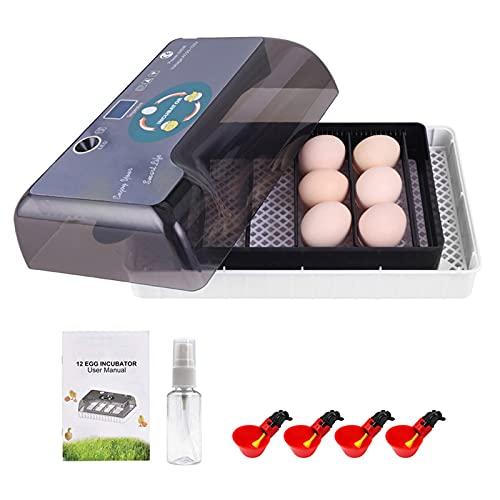 EUNEWR 12 Eier Automatischer Inkubator mit Geflügel Wassertrinkbecher,brutapparat vollautomatisch,Inkubator Vollautomatische Brutmaschine,Eierbrutmaschine mit Temperatur&Feuchtigkeitsregulierung