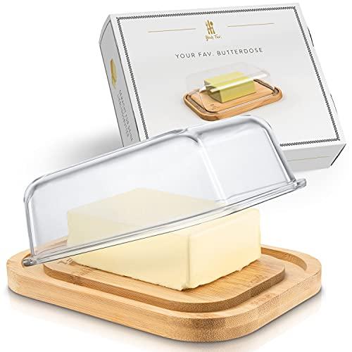 Your Fav . Premium Butterdose aus Glas mit nachhaltigem Bambusdeckel für 250g Butter, Hochwertiger Butterbehälter Glas mit Deckel, Butter Dish aus Borosilikatglas mit Bambus Holz Deckel