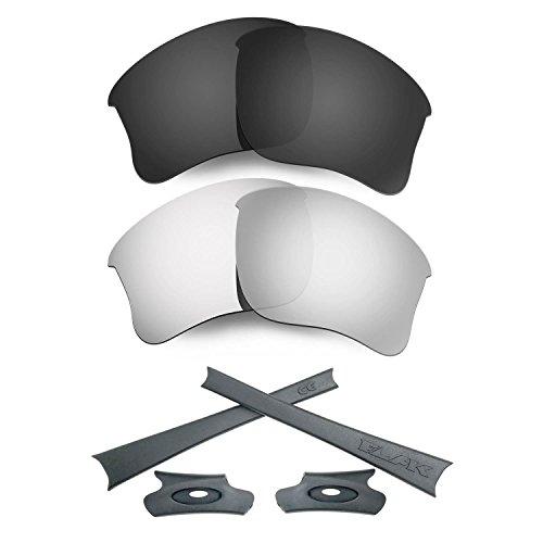 HKUCO For Oakley Flak Jacket XLJ Black/Silver Polarized Replacement Lenses And Grey Earsocks Rubber Kit