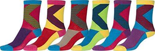 Sakkas 323ST026 Damen Spaß-bunte Design-Polyester-Mischung Crew Socken gemischt 6 pro Packung - Bumerang- 9-11