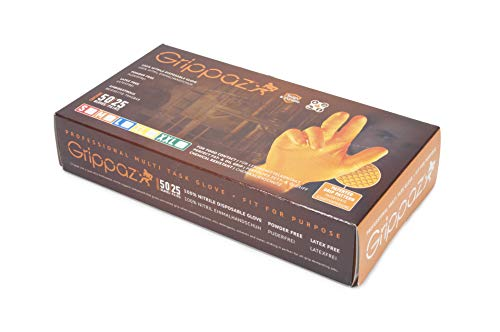 Preisvergleich Produktbild 200 Nitril-Handschuhe GRIPPAZ - puderfrei - orange - unsteril - latexfrei - Gr. L - Einmalhandschuhe