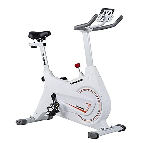 Spinning Bike Bicicleta Estática para Gimnasio En Casa, Bicicleta De Ciclismo Estacionaria para Interiores con Monitor Digital, Bicicleta De Ciclo De Transmisión por Correa, Blanco
