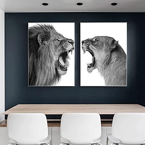Carteles de arte de pared de animales de león y leona masculinos de moda e impresión de lienzo pintura cuadro de arte de pared para decor de sala de estar 70x90cm (28x35in) x2pcs sin marco