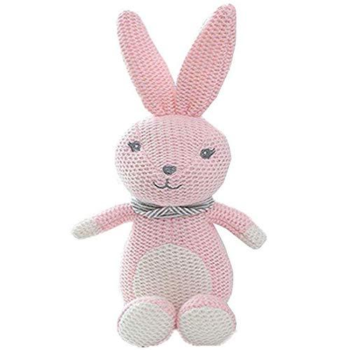 BriskyM Baumwolle gestricktes Plüschtier für Jungen und Mädchen - Bär, Kaninchen, Pony, Dinosaurier, Elefantenbaby - Bio-Hand gehäkelte Tierrassel (Hase, 22 * 11)