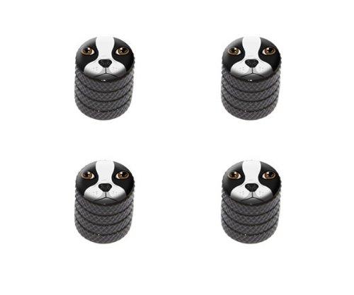 Graphics and More Boston Terrier Face - Dog Pet Tire Rim Wheel Aluminum Valve Stem Caps - Black Color