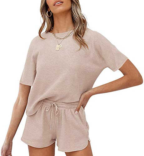 MEROKEETY Women's Short Sleeve Waffle Pajama Sets Lounge Top and Shorts 2 Piece Tracksuit Outfits, ShortBeige, S