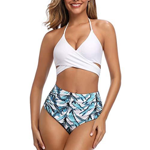 KEERADS - Bikini para mujer dividido con push up en el cuello, parte superior con cintura alta, bikini Bottom para mujer, traje de baño deportivo, 2 piezas, S – XXL Blanco L