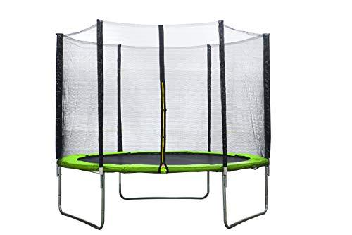 AMIGO Cama elástica de 305 cm – Cama elástica redonda para jardín con red de seguridad y barras acolchadas – cubierta de seguridad – Certificado TÜV (EN71) – Verde claro