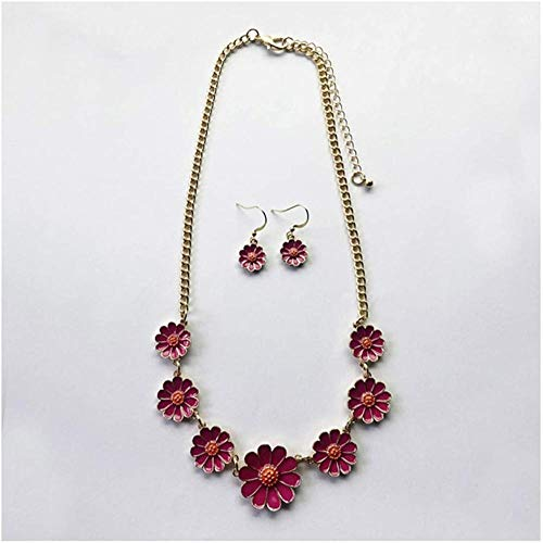 NC188 Fashion Colored Daisy Flower Charm Necklace Ethnic Enamel Small Flower Pendant Necklace Gift for Women