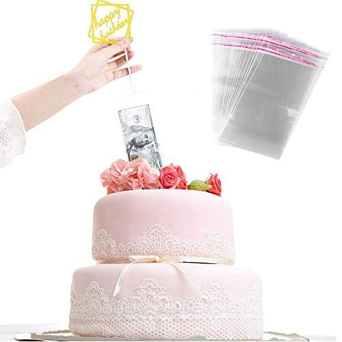 Cake ATM, Caja Dinero Pastel Molde, Con 20 Bolsas Transparentes, para Hacer Tarta Sacando Dinero Caja de Sacar Dinero Reutilizable