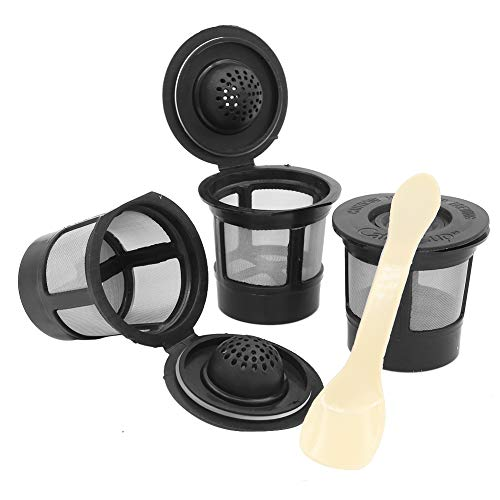3 Pcs Reusable Coffee Pod Filters Mesh Holder,Refillable Coffee Capsules with Spoon for Keurig K-Cup