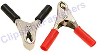 Clipsandfasteners Inc 1 Pair 10 Amp Test Clips Black and Red Insulation