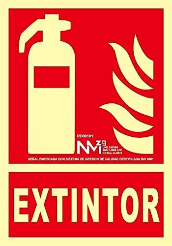 RD00301 - Señal Luminiscente Extintor PVC Glasspack 0,4mm 21x30cm con CTE, RIPCI Nueva Legislación
