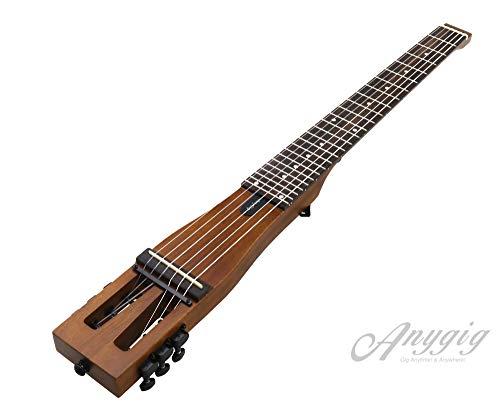 """Anygig AGN SE-MB zurdos 25,5\"""" Guitarra eléctrica Marrón mate Mástil de 2 vías Nylon Cuerdas"""