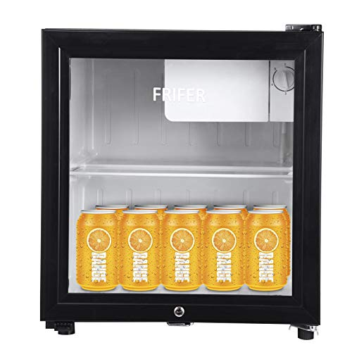 Mini Fridge Freezer 63l Table Top Refrigerator with Lock And Key, Small Fridge with 6 Adjustable Thermostat, Super Quiet, Energy Class E for Home, Office, Dormitory Wine & Drinks Fridge