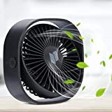 USB Fan, RenFox USB Desktop Fan Mini Desk Fan Three Adjustable Speed Noiseless USB Powered Fan 5 Inch Portable Personal Fan with 5 Blades for Home Office, USB Powered