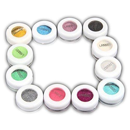 PIXNOR 12 Boîtes de Perle Paillette Maquillage Fard à Paupières Poudre -Couleurs Assorties