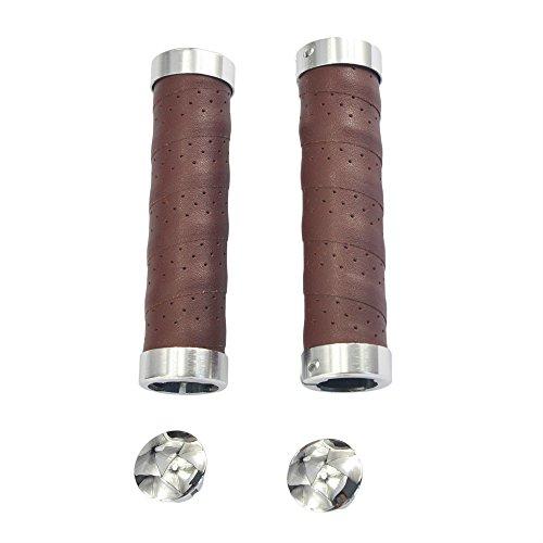 UPANBIKE Fahrrad Griffe Ergonomisches Design Fahrrad Ledergriffe Passend für 22,2 mm Lenkergriffe(EIN Paar,Kaffee Farbe)