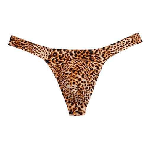 Calzoncillos de Leopardo Sexis para Hombre Boxers de Malla Transparente Calzoncillos Cortos Tiro Bajo,Tangas Suspensorios Sexywear Transpirable Convex Cómodo Slip Respirable Sexy Bikini Bragas