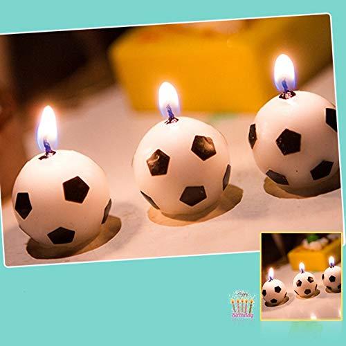 6 PC/sistema lindo de la bola del fútbol del fútbol velas de la torta de la fiesta de cumpleaños del niño de Alimentación Fuentes de la decoración de la boda de la decoración del partido de jardín