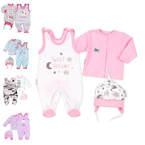 Baby Sweets 3er Baby-Set mit Strampler, Shirt & Mütze für Mädchen in Weiß Rosa/Baby-Erstausstattung als Strampler Set im Mond-Sterne-Motiv für Neugeborene & Kleinkinder in der Größe: 6 Monate (68)