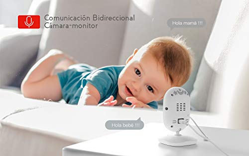 Vigilabeb/és con C/ámara COOAU Beb/é Monitor con Pantalla LCD de 4.3 pulgadas y Bater/ía Recargable Monitoreo de Temperatura Conexi/ón Inal/ámbrica de 2.4 GHz Visi/ón Nocturna Comunicaci/ón Bidireccional