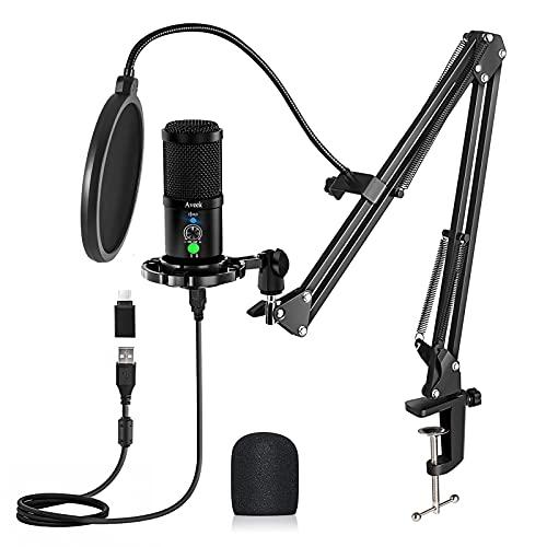 USB Microphone Kit 192KHZ/24BIT, Aveek Podcast PC Microphone with Mute,...
