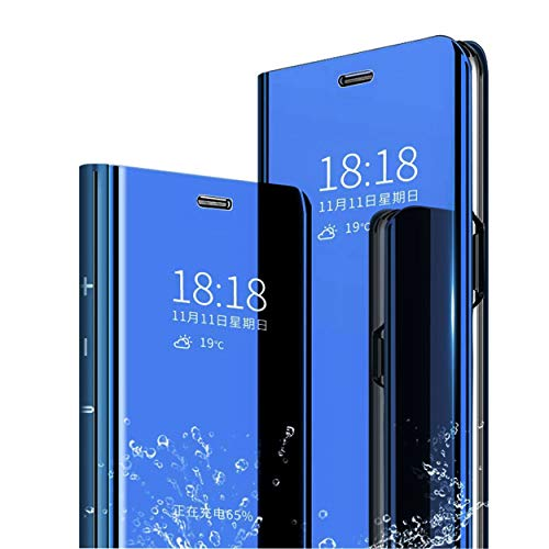MLOTECH compatibile Funda Redmi Note 7,Cover + vetro temperato Flip Traslucido Clear View Specchio Standing Cover Anti Shock Placcatura Custodia Protezione Cielo BLU
