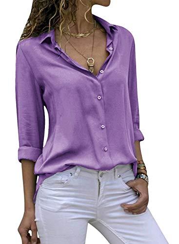 Yidarton Women's Long Sleeve V Neck Chiffon Blouses Tops Button Down Business Shirts(Purple,L)