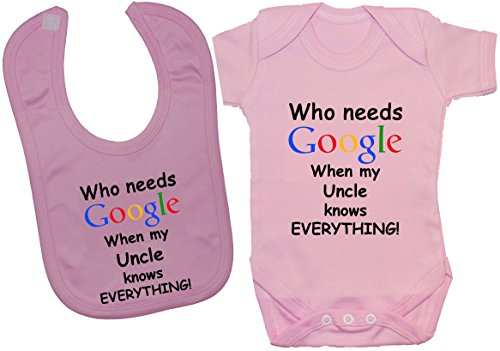 Acce Products Body pour bébé Inscription Who Needs Google When My Uncle Knows Everything - Rose - 0-3 mois
