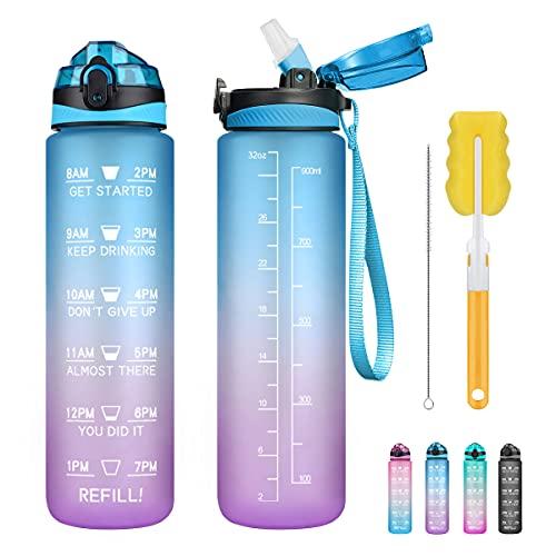 Borraccia da 1 litro con cannuccia, senza BPA, con indicatore del tempo, riutilizzabile, a prova di perdite, per ciclismo, fitness, sport all'aria aperta, in plastica Tritan, 907,2 g (blu e viola)