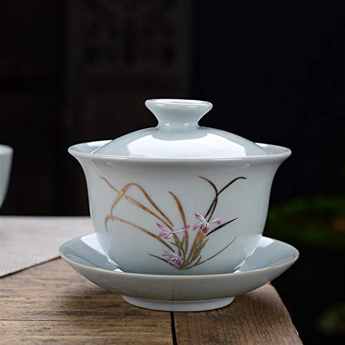 ZiWen Lu 4.2 Forno di Grandi Dimensioni Coperto Tazza di tè Kung Fu tè tè Ciotola zuppiera con Dio Apre la 200ml Creativa Pezzo (Color : Official kiln (Style 6))