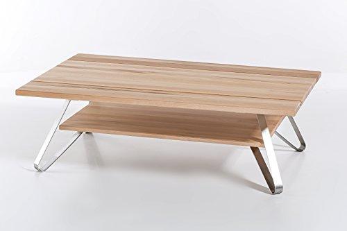 Preisvergleich Produktbild Woodlive Massivholz Couchtisch VETUS aus Kernbuche,  Wohnzimmertisch aus Holz,  mit 3-teiliger Tischplatte,  Beistelltisch inkl. Ablageboden,  Tisch 115 x 75 cm