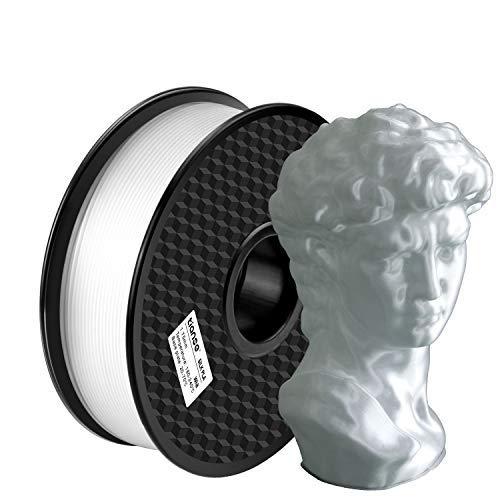 TIANSE Filamento de Seda de la Impresora 3D,1.75mm 1KG (2.2LBS),Spool Filament for 3D Printing,Precisión Dimensional +/- 0.03 mm,【Sin Enredos y Sin Bloqueo】 (Blanco)